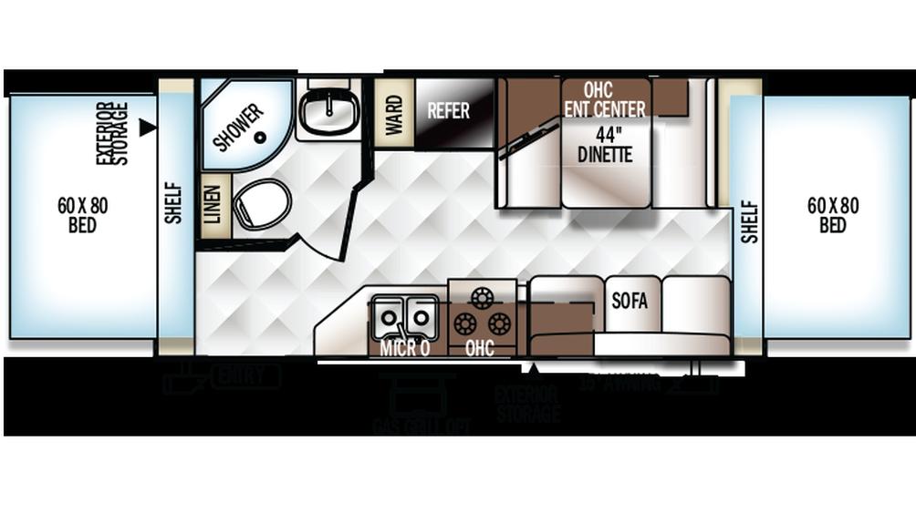 2018 Rockwood Roo 19 Floor Plan