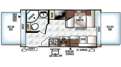 2018 Rockwood Roo 19 Floor Plan