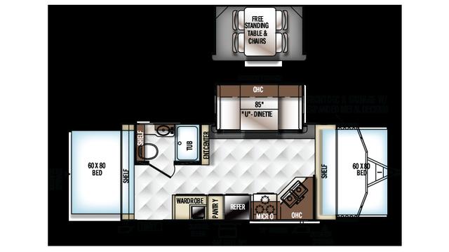2018 Rockwood Roo 21BD Floor Plan