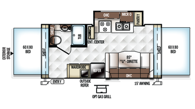 2018 Rockwood Roo 21DK Floor Plan