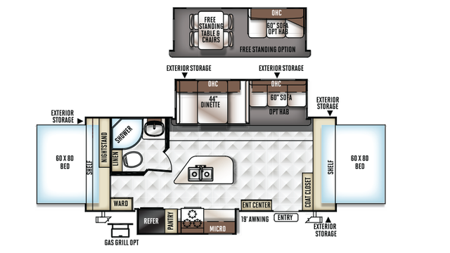 2018 Rockwood Roo 23IKSS Floor Plan