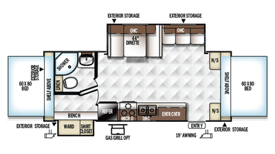 2018 Rockwood Roo 24WS Floor Plan