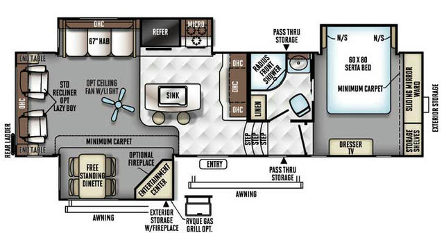 2018 Rockwood Signature Ultra Lite 8299BS Floor Plan