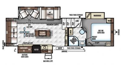 2018 Rockwood Signature Ultra Lite 8288WSA Floor Plan