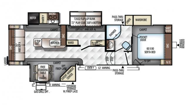 2018 Rockwood Signature Ultra Lite 8295ws Floor Plan
