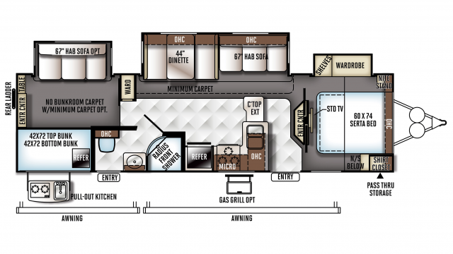 2018 Rockwood Signature Ultra Lite 8311WS Floor Plan