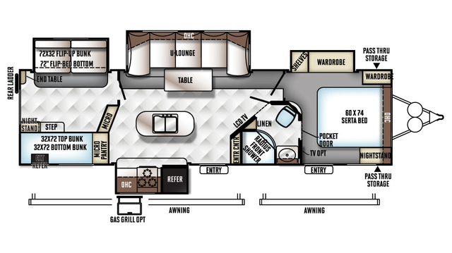 2018 Rockwood Signature Ultra Lite 8327SS Floor Plan