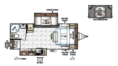 2018 Rockwood Ultra Lite 2304DS Floor Plan