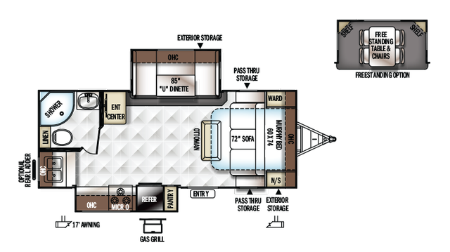 2018 Rockwood Mini Lite 2304 Floor Plan