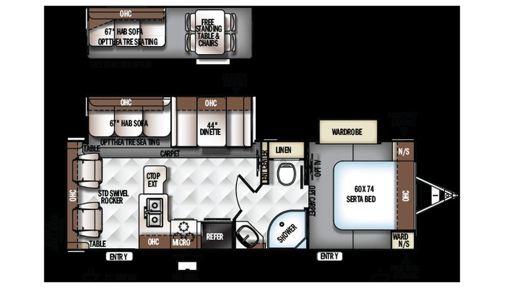 2018 Rockwood Ultra Lite 2604WS Floor Plan