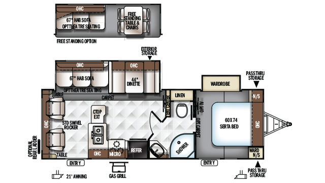 2018 Rockwood Ultra Lite 2604WS Floor Plan