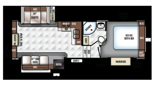 2018 Rockwood Ultra Lite 2650WS Floor Plan