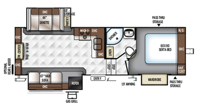 2018 Rockwood Ultra Lite 2650WS Floor Plan