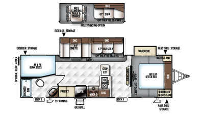 2018 Rockwood Ultra Lite 2702WS Floor Plan