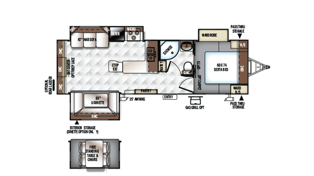 2018 Rockwood Ultra Lite 2703WS Floor Plan
