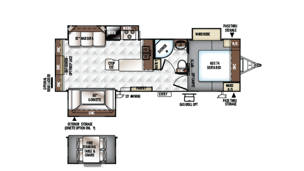 2017 Rockwood Ultra Lite 2703WS Floor Plan