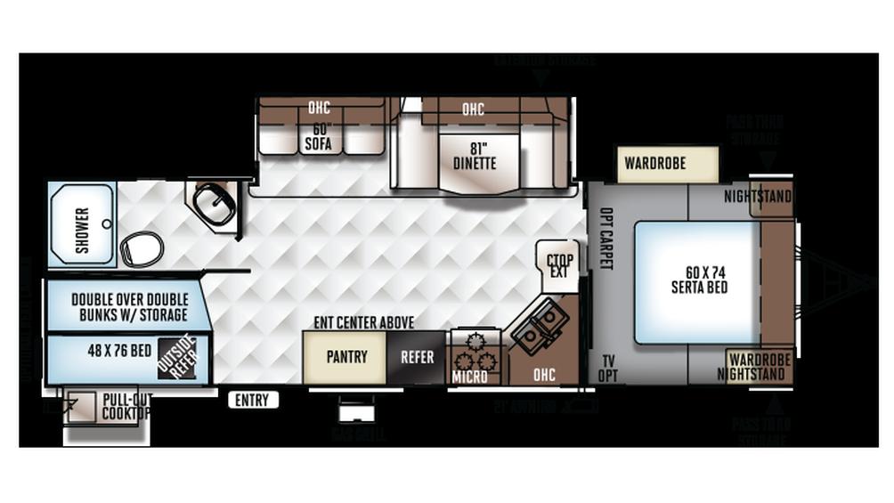 2018 Rockwood Ultra Lite 2706WS Floor Plan