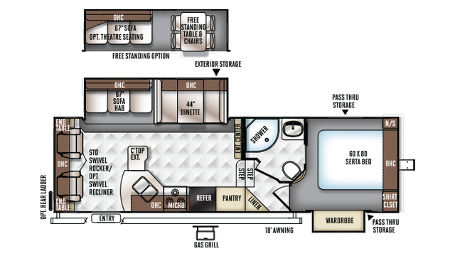 2018 Rockwood Ultra Lite 2720ws Floor Plan