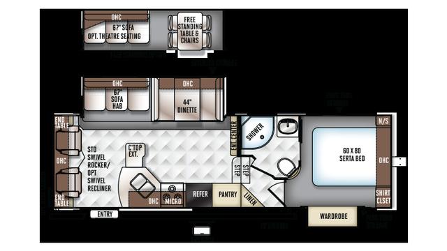 2018 Rockwood Ultra Lite 2720WS Floor Plan