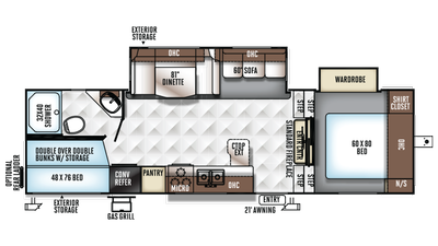 2018 Rockwood Ultra Lite 2780WS Floor Plan