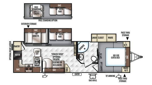 2018 Rockwood Ultra Lite 2902WS Floor Plan