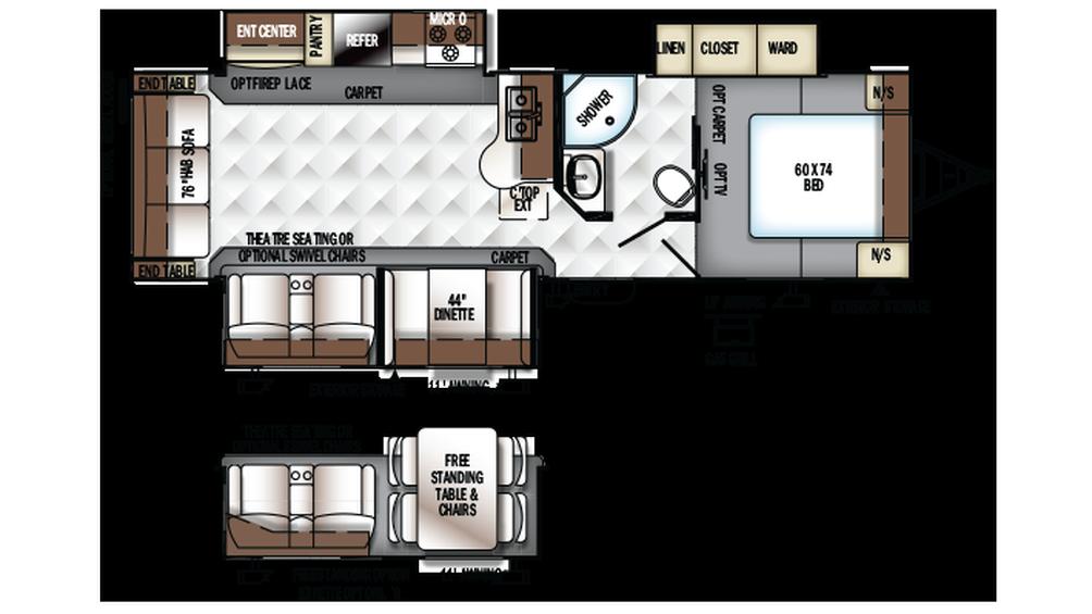 2018 Rockwood Ultra Lite 2906WS Floor Plan