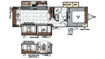 2018 Rockwood Ultra Lite 2906WS Floor Plan