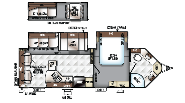 2018 Rockwood Ultra V 2715VS Floor Plan