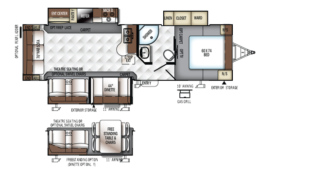 2017 Flagstaff Super Lite 29KSWS Floor Plan