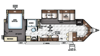 2017 Flagstaff V-Lite 30WFKSS Floor Plan