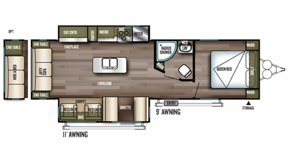 2019 Wildwood 27REI Floor Plan Img