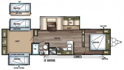 2019 Wildwood 31KQBTS Floor Plan Img