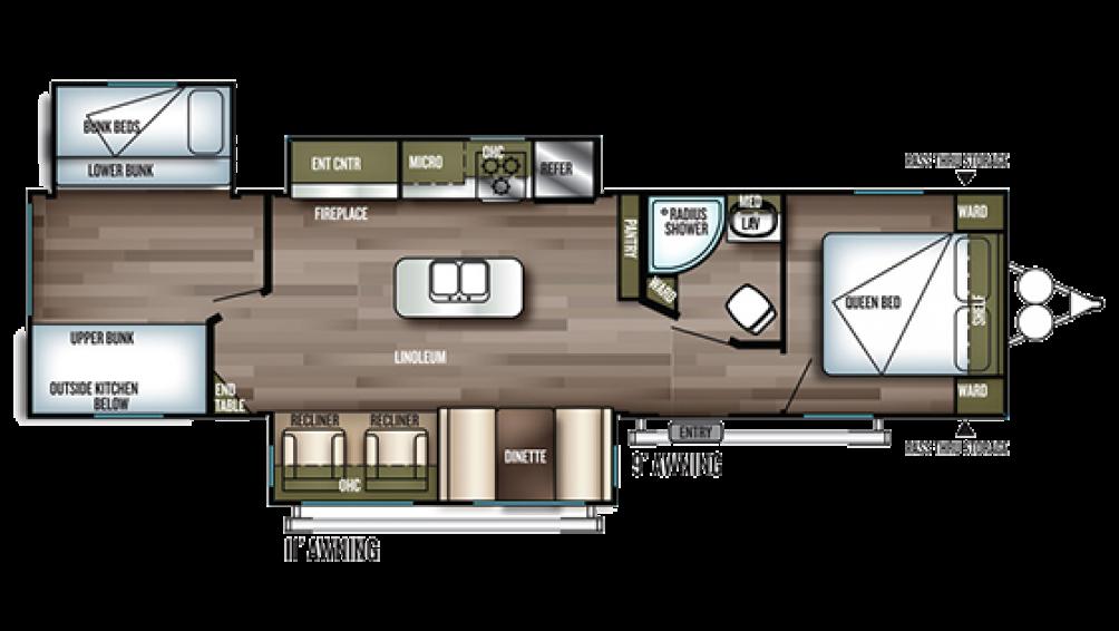 2019 Wildwood 32BHI Floor Plan Img