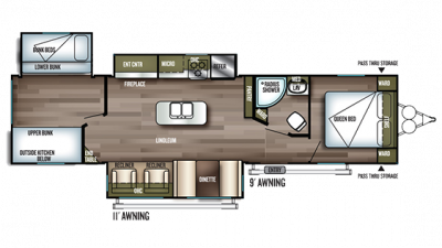 2019 Wildwood 32BHI Floor Plan Img