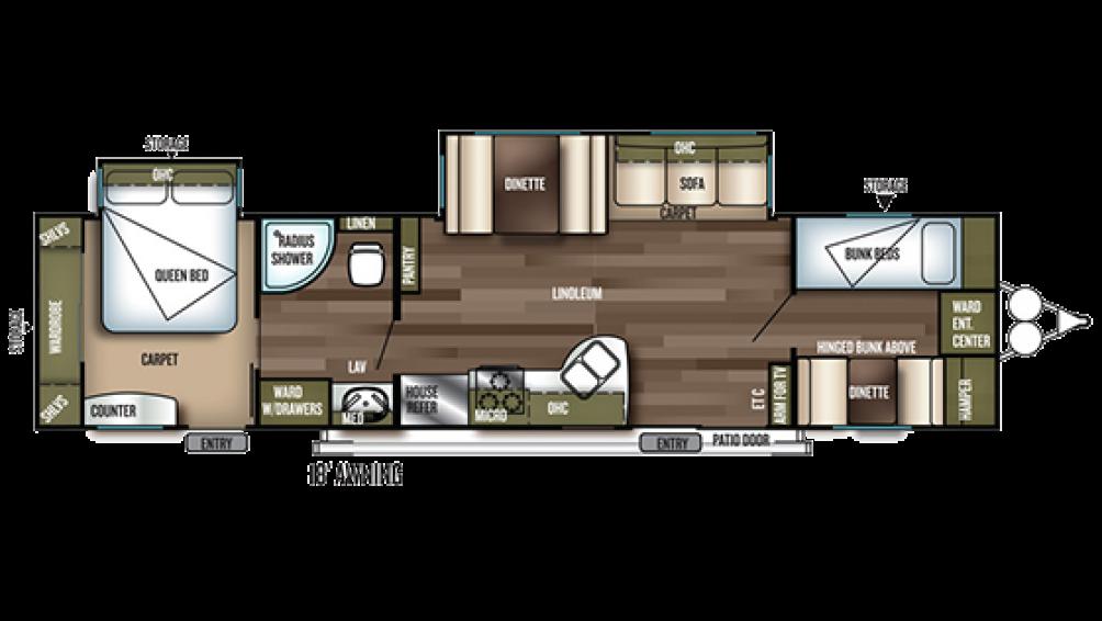 2019 Wildwood 36BHBS Floor Plan Img