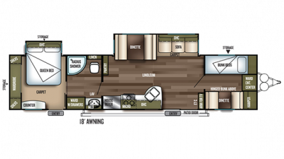 2019 Wildwood 36BHBS Floor Plan Img