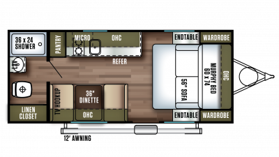 Floorplan of a 2018 Wildwood FSX 187RB