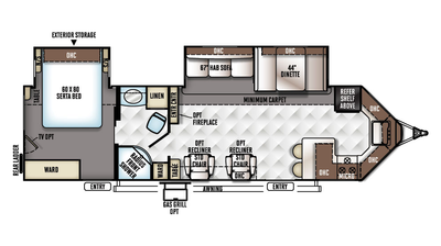 2018 Windjammer 3008W Floor Plan