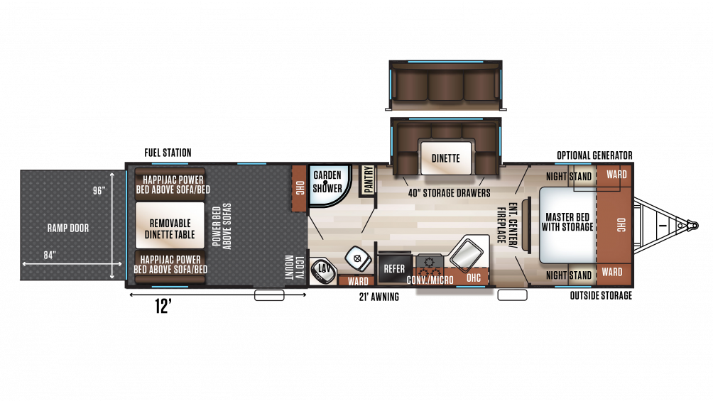 2018 Wolf Pack 25PACK12+ Floor Plan Img