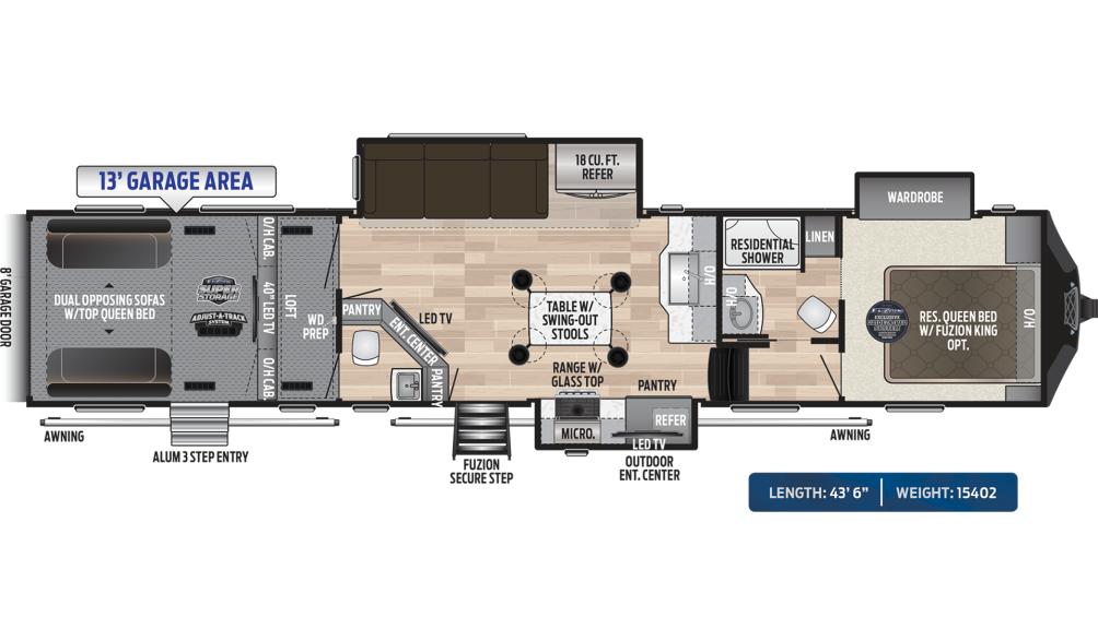 Fuzion 427 Floor Plan - 2020