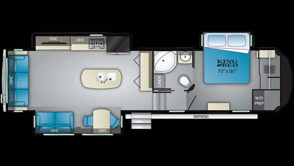 2019 Bighorn 3370EL Floor Plan Img