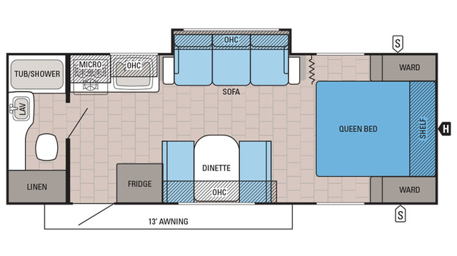 2016 Jay Feather Ultra Lite 22FQSW Floor Plan
