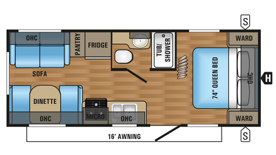 2018 Jay Flight 21QB Floor Plan