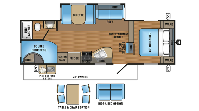 2018 Jay Flight 27BHS Floor Plan