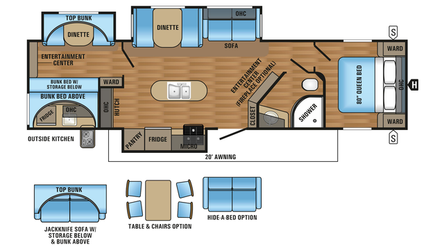 2018 Jay Flight 33RBTS Floor Plan