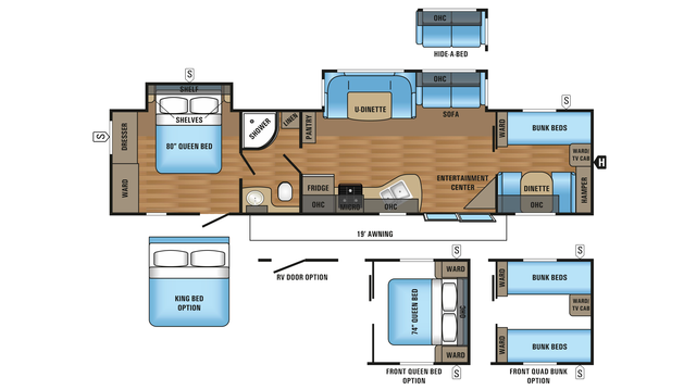 2018 Jay Flight 38BHDS Floor Plan
