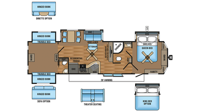 2018 Jay Flight Bungalow 40BHQS Floor Plan