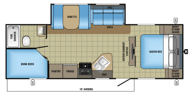 2018 Jay Feather 25BH Floor Plan