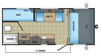 2018 Jay Feather 7 19BH Floor Plan