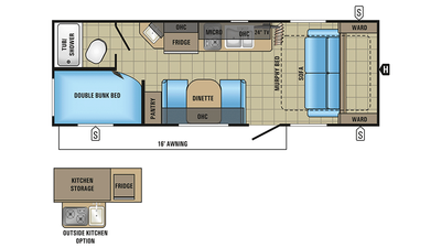 2018 Jay Feather 7 22BHM Floor Plan